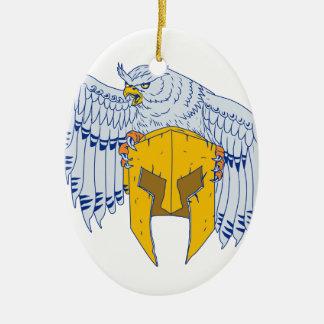 Ornement Ovale En Céramique Hibou à cornes saisissant le dessin spartiate de