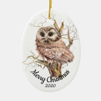 Ornement Ovale En Céramique Hibou daté d'aquarelle de Noël de coutume dans