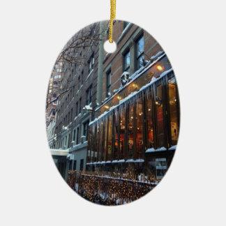 Ornement Ovale En Céramique Hiver supérieur NYC de New York City de glaçons de