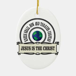 Ornement Ovale En Céramique Homme de sauveur de Jeus le Christ