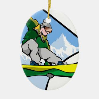 Ornement Ovale En Céramique Homme de snowboarding