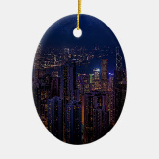 Ornement Ovale En Céramique Horizon de Hong Kong