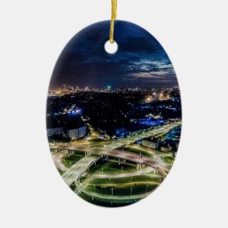 Ornement Ovale En Céramique Horizon de nuit de Riga