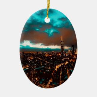 Ornement Ovale En Céramique Horizon de nuit de Taïpeh