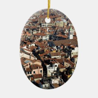 Ornement Ovale En Céramique Horizon de ville de Venise