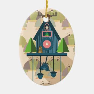 Ornement Ovale En Céramique Horloge de coucou avec le papier peint de tortue