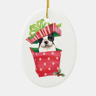 Ornement Ovale En Céramique Howliday heureux Boston Terrier
