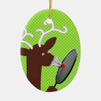 Ornement Ovale En Céramique humour de badminton