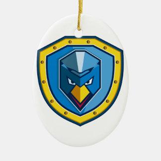 Ornement Ovale En Céramique Icône bleue de bouclier de Mohawk de poulet