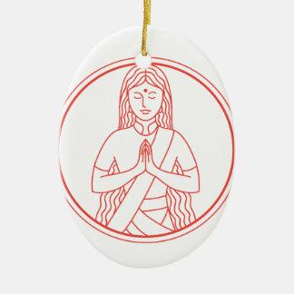 Ornement Ovale En Céramique Icône de Namaste