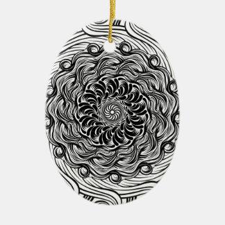 Ornement Ovale En Céramique Illusion optique de griffonnage fleuri de zen