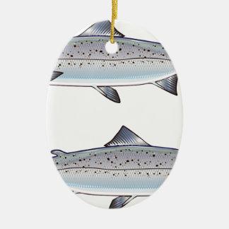 Ornement Ovale En Céramique Illustration de poissons d'océan de saumon
