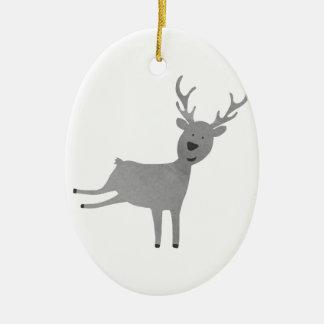 Ornement Ovale En Céramique Illustration grise de renne