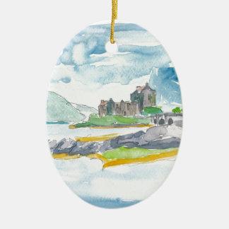 Ornement Ovale En Céramique Imaginaire de montagnes de l'Ecosse et château