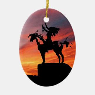 Ornement Ovale En Céramique Indien d'Amerique et cheval indigènes