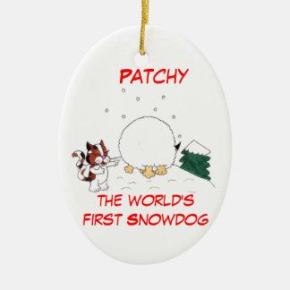 Ornement Ovale En Céramique Inégal l'ornement de Noël de Snowdog