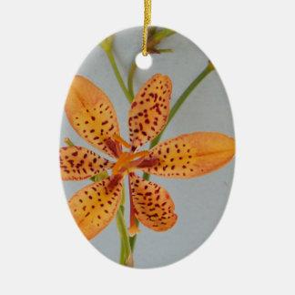 Ornement Ovale En Céramique Iris repéré par orange appelé un lis de Blackberry
