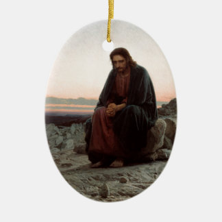 Ornement Ovale En Céramique Ivan Kramskoy- le Christ dans la région sauvage -