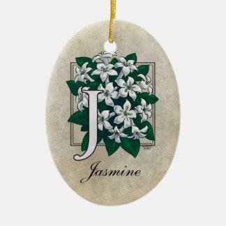 Ornement Ovale En Céramique J pour le monogramme de fleur de jasmin