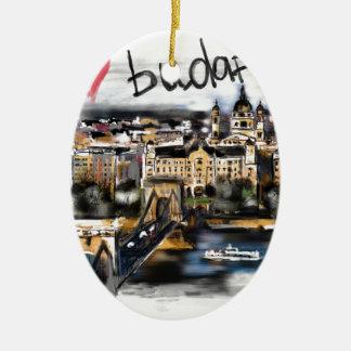 Ornement Ovale En Céramique J'aime Budapest