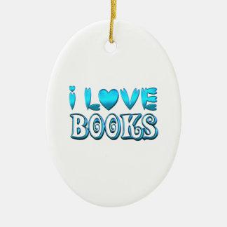 Ornement Ovale En Céramique J'aime des livres