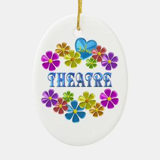 Ornement Ovale En Céramique J'aime le théâtre