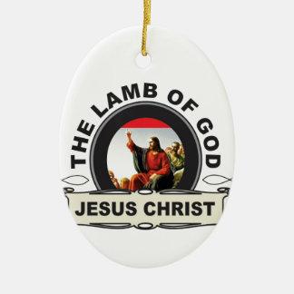 Ornement Ovale En Céramique jc l'agneau d'un dieu