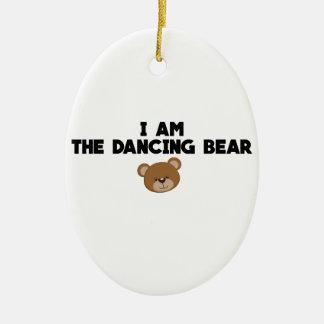 Ornement Ovale En Céramique Je suis l'ours de danse
