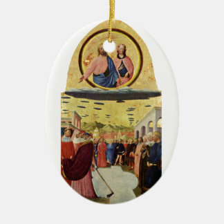 Ornement Ovale En Céramique Jésus monte un UFO