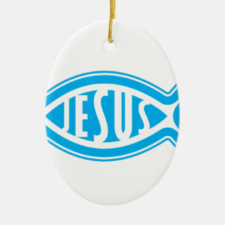 Ornement Ovale En Céramique Jésus-Poisson
