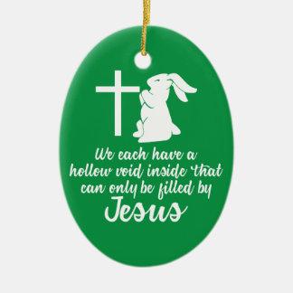 Ornement Ovale En Céramique Jésus remplit lapin nul creux Pâques