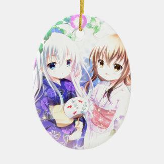Ornement Ovale En Céramique Jeunes filles dans Yukata