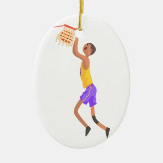 Ornement Ovale En Céramique Joueur de basket accrochant sur l'autocollant