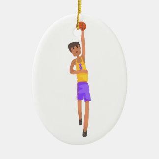Ornement Ovale En Céramique Joueur de basket avec l'autocollant d'action de