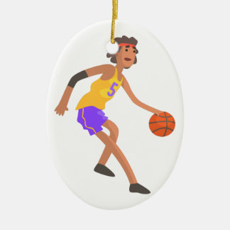 Ornement Ovale En Céramique Joueur de basket dans l'autocollant rouge d'action