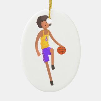 Ornement Ovale En Céramique Joueur de basket fonctionnant avec l'autocollant