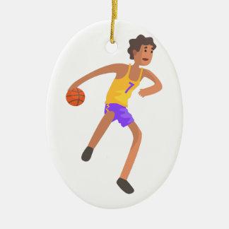 Ornement Ovale En Céramique Joueur de basket passant l'autocollant d'action de