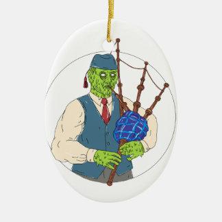 Ornement Ovale En Céramique Joueur de pipeau de zombi jouant l'art de crasse
