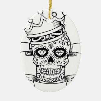Ornement Ovale En Céramique Jour de crâne du crâne mort de sucre de couronne