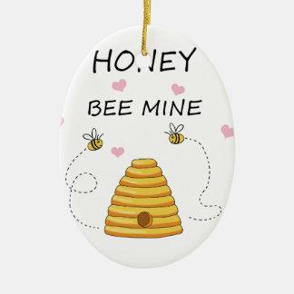 Ornement Ovale En Céramique Jour de Valentines de mine d'abeille