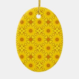 Ornement Ovale En Céramique Kaléidoscope des tournesols, jaune lumineux