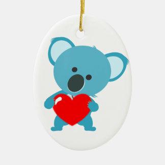 Ornement Ovale En Céramique Koala coeur