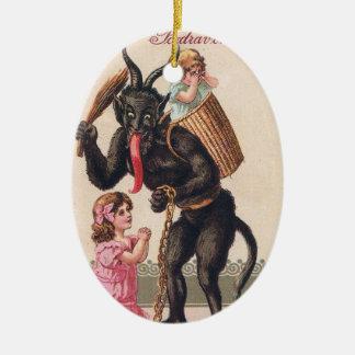 Ornement Ovale En Céramique Krampus effrayant Noël vintage de vacances de