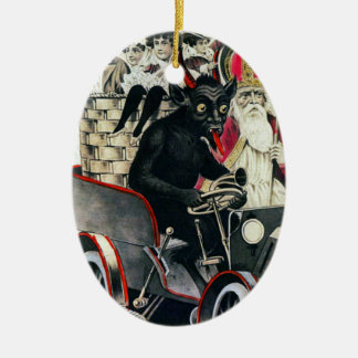 Ornement Ovale En Céramique Krampus et saint Nicholas