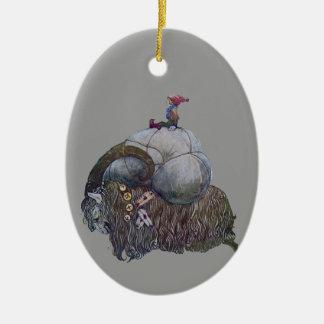 Ornement Ovale En Céramique La chèvre de Noël