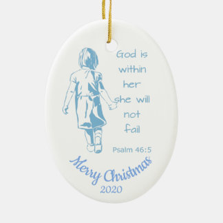 Ornement Ovale En Céramique La femelle datée d'écriture sainte de Noël de