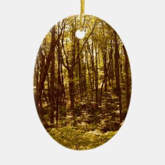 Ornement Ovale En Céramique La forêt montre du doigt