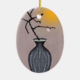 Ornement Ovale En Céramique la lune élégante des fernandes et la fleur de 3