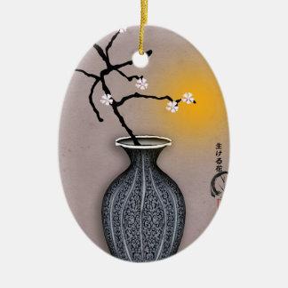Ornement Ovale En Céramique la lune élégante des fernandes et la fleur de 7