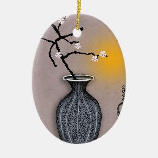 Ornement Ovale En Céramique la lune élégante des fernandes et la fleur de 8